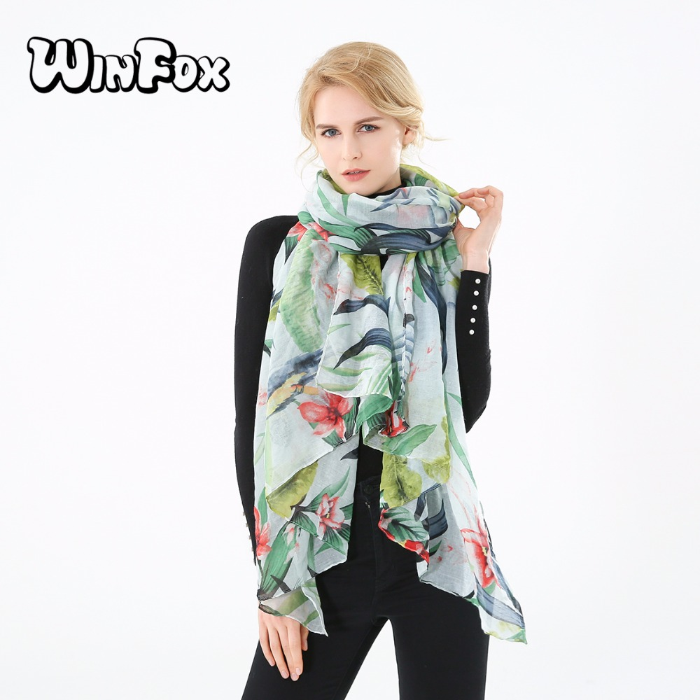 Winfox 2018 New Spring Summer Oversize White Green Flower Leaf Parrot Print Beach Scarf Shawl Pashmina Womens