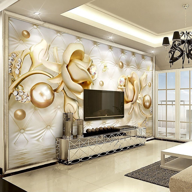 Custom Mural Wallpaper 3D Golden Roses Ball Soft Pack Diamond Murales De Pared 3D Wallpaper Living Room Bedroom Wall Painting large painting home decor relief green flowers hotel background modern mural for living room murales de pared 3d wallpaper
