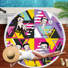 Betty Boop Round Beach Towel For Adults Lovely Microfiber Towels Serviette de plage Toalla Blanket Tassels Tapestry Beach Mat(China)