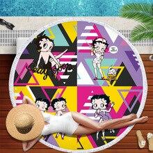 Betty Boop جولة الشاطئ منشفة للبالغين جميل مناشف من الألياف الميكرو المنديل دي بلاج Toalla بطانية شرابات نسيج الشاطئ حصيرة