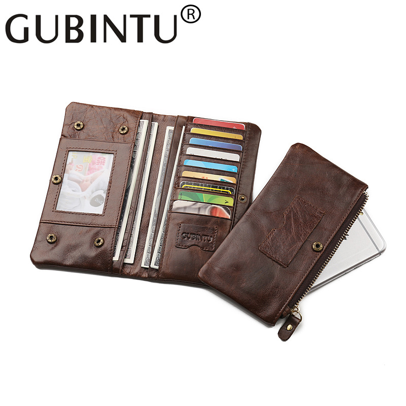 Zipper Phone Handy Long Genuine Leather Men Wallet Purse Male Clutch Bag Money Business Card Holder Walet Cuzdan Vallet Kashelek