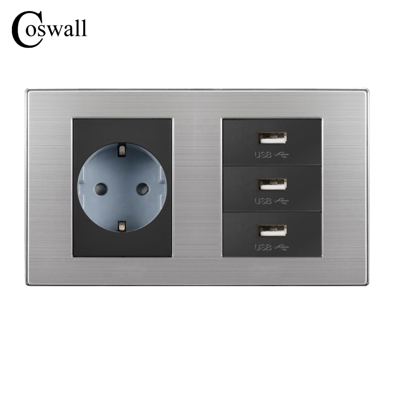EU Standard Wall Socket + 3 Way USB Charge Port For Mobile...