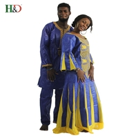 2017New African Riche Bazin Dresses For Couples Clothing Marry Fashion Designs Lady S Traditional Fabric Dashiki