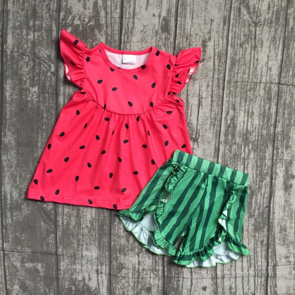 baby girls summer clothes children girls watermelon boutique outfits girls red top with green shorts watermelon minksilk clothes 2016 summer baby child girls outfits ruffles shorts white striped watermelon boutique ruffles clothes kids matching headband set