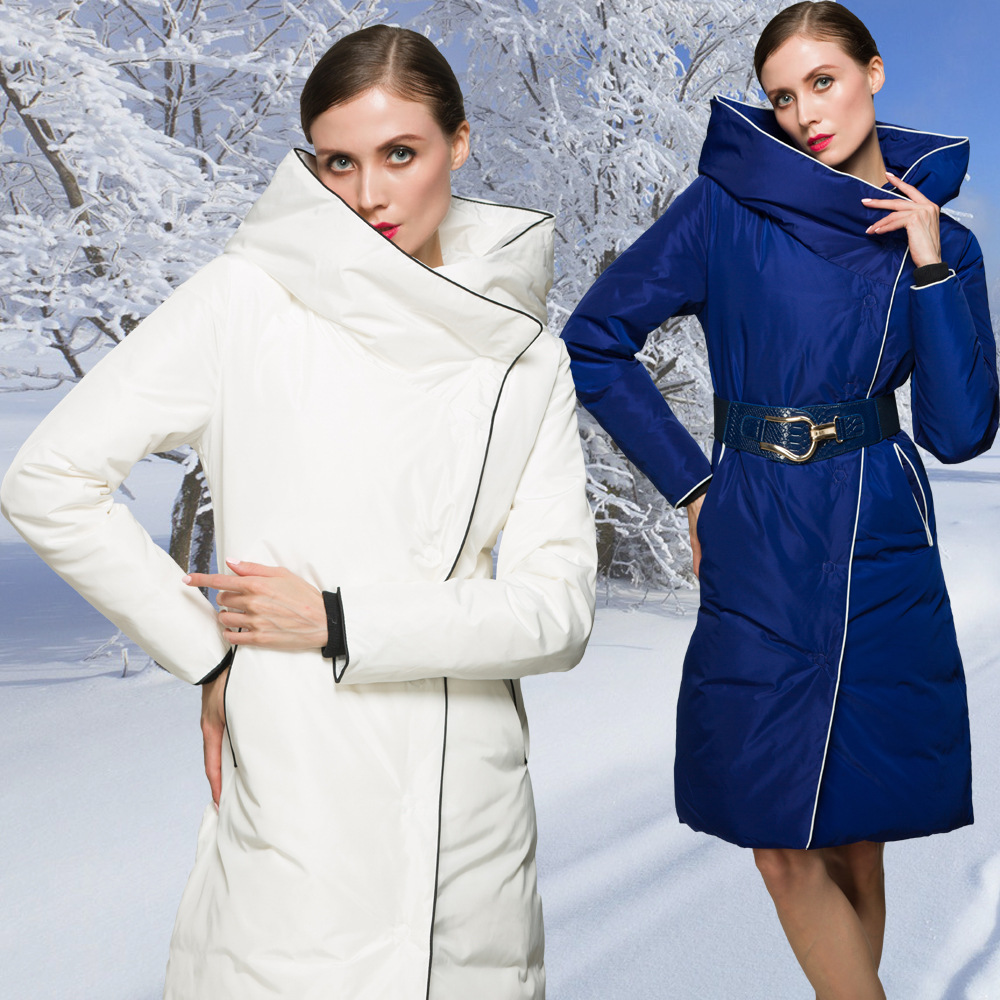 High Quality Fashion Designer 2016 Winter Luxury European Style Women's Long jacket Down Parkas Super Jacket Women Coat