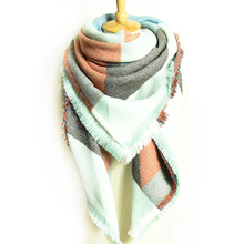 Large Cashmere Scarf Women Fashion Designer Scarf Luxury Brand Winter Square Tartan Plaid Scarves For Women