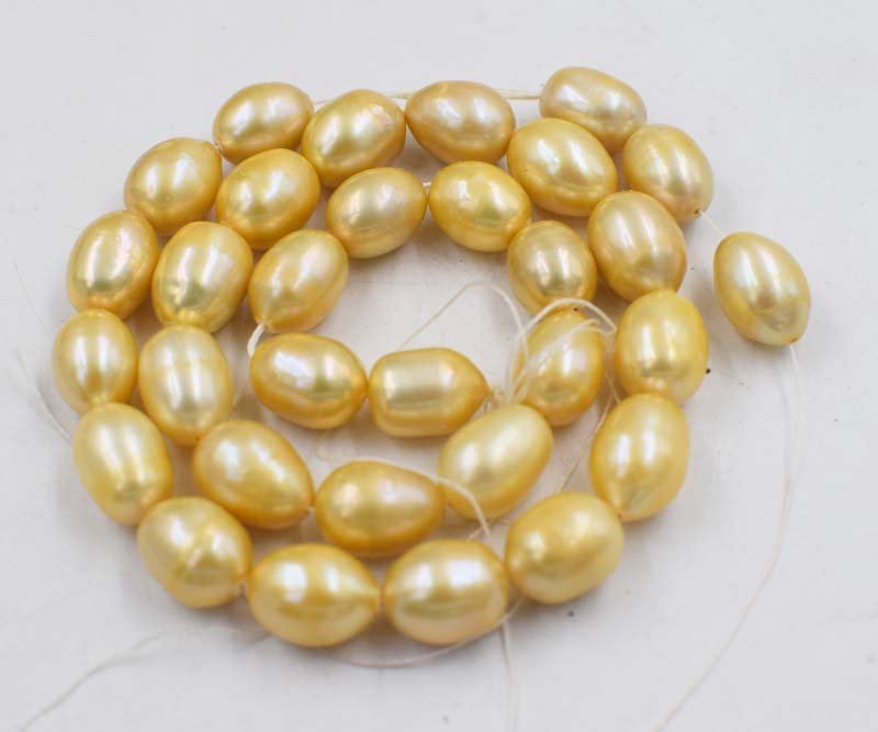 A  loose beads champagne 10-12mm freshwater pearl egg 15inch  for DIY jewelry making FPPJ wholesale beads nature