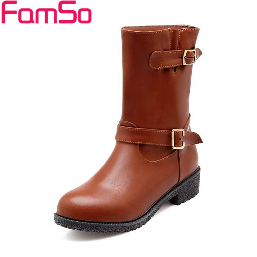 Plus Size34 43 2016 New Sexy font b Women s b font Autumn Motorcycle Boots Buckle