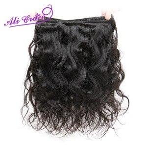 Image 3 - Ali graça cabelo peruano onda do corpo 100% cabelo humano com 4*4 parte média livre fechamento do laço pacote ofertas cor natural remy cabelo