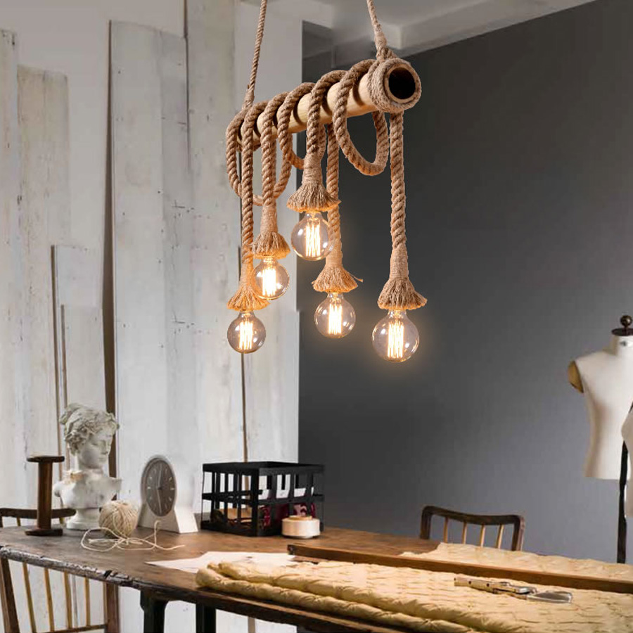 American Rustic Style Handmade Pendant Lamp E27 Lamp Holder Hanging Rope Pestaurant Room Lamp Vintage Rope Lamps