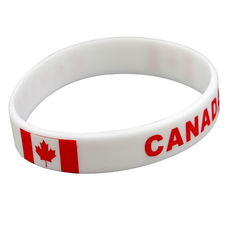100pcs Canada flag silicone wristband bracelet free shipping