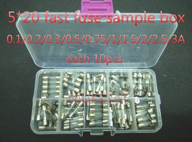 100 pçs/set Os Fusíveis de Vidro 5x20mm 5*20mm 0.1/0.2/0.3/0.5/0.75/1/1.5/2/2.5/3A 250 V Golpe Rápido Tubo De Vidro Do Fusível Assorted Kits Fast-golpe