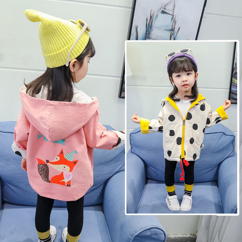 INS hot Baby Girls   trench   2-7 year old cotton hooded belt print polka dot cartoon fox spring and autumn fashion reversible coat