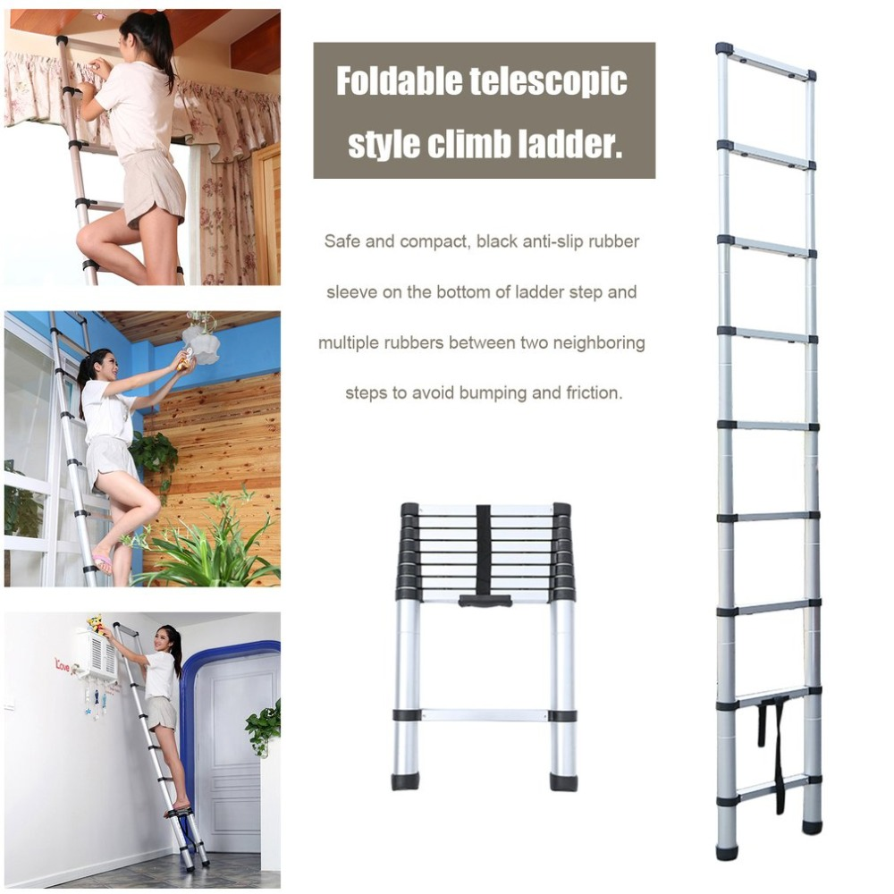 8.5FT 2.6 Meter Folding Climb Aluminum Telescopic Step Ladder Multi Purpose Non Slip Step Ladder extensive Ladder good quality