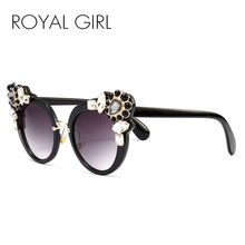 ROYAL GIRL Luxury Women Cat Eye Sunglasses Crystal gilded Coating Mirror Vintage Glasses ss054