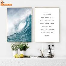 COLORFULBOY Mořská vlna Krajina Životní citace Nástěnná malba Umělecká reprodukce Nordický plakát Kresba malířský Wall Pictures pro obývací pokoj Domácí dekorativní