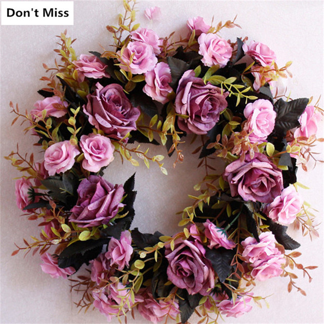Door Decoration Simulation Silk Rose Flower Wreath 45cm Floral Christmas Wreath Artificial Flowers Garland Decorativo Wieniec