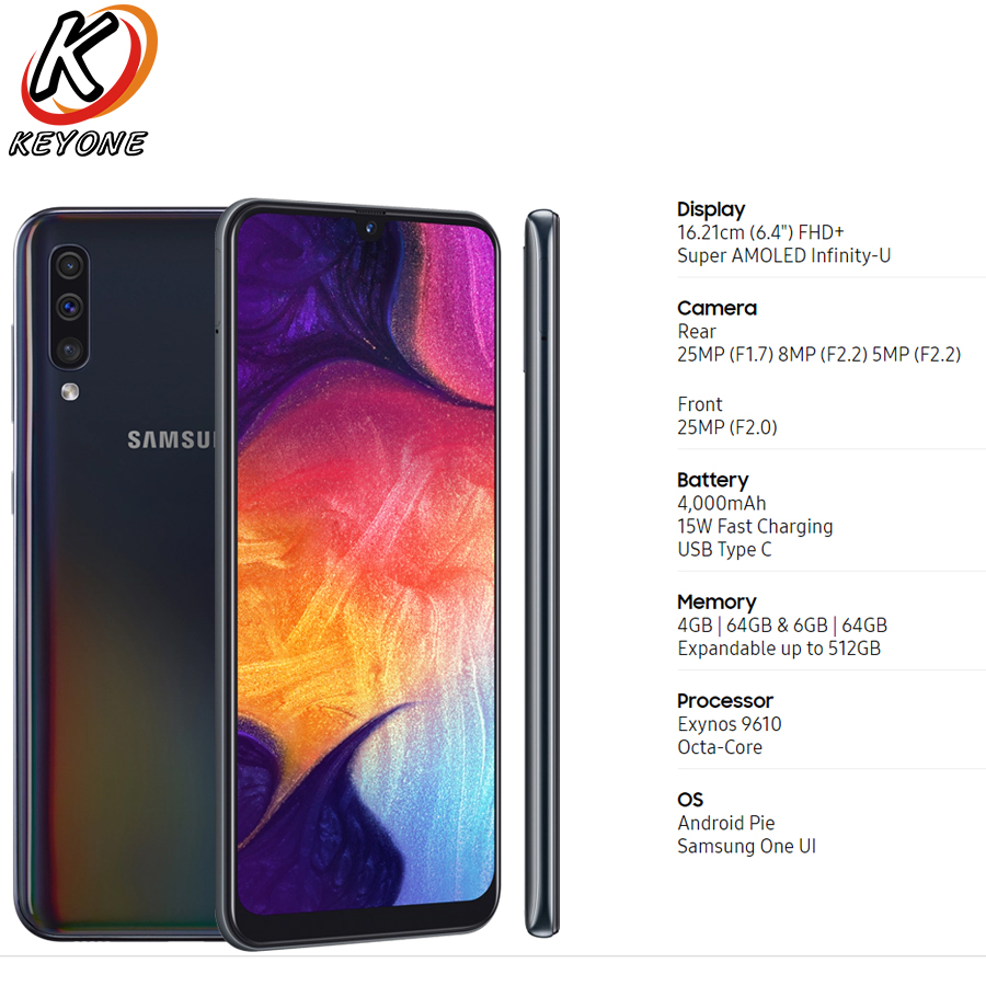 """Brand New Samsung Galaxy A50 A505F DS LTE Mobile Phone 6.4"""" 4/6GB RAM 128GB ROM Exynos 9610 Octa Core Android 9.0 Dual SIM Phone