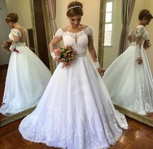 Wedding Dress 2019 Lace A Line Long Sleeves  See Through Back Bridal Gown Casamento Robe De Mariee