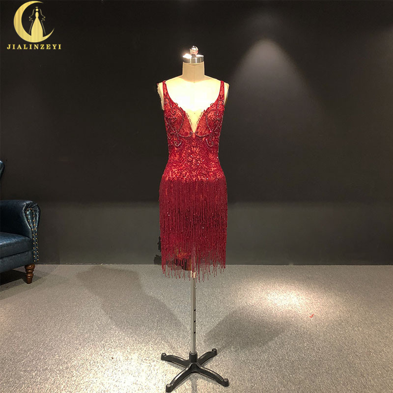 Rhine Real Pictures Sexy V Neck And Open Back Wine Red Tassels Fashion Party Dresses Prom Dresses 2019