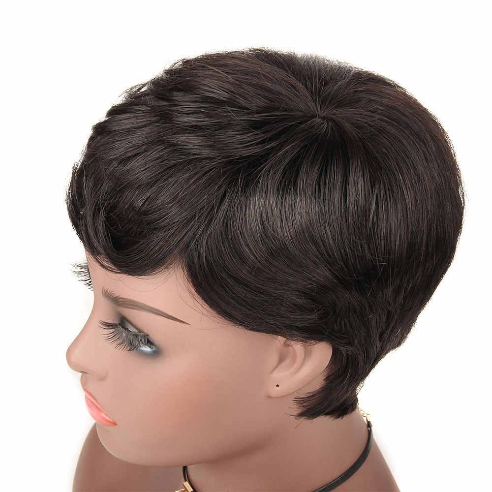 Brasil 6 Inch Brazilian Rambut Manusia Wig dengan Poni untuk Hitam/Putih Wanita 100% Remy Rambut Manusia Ekstensi Afro wig