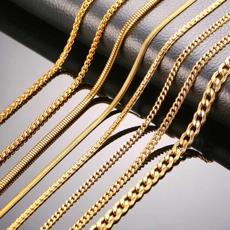 "Gold Color Women Men Chain Necklaces Stainless Steel Curb Flat Snake Link Chains 24"" Width 3mm 4mm 6mm"