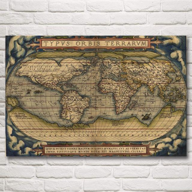 World Map National Geographic Retro Art Silk Fabric Poster Prints