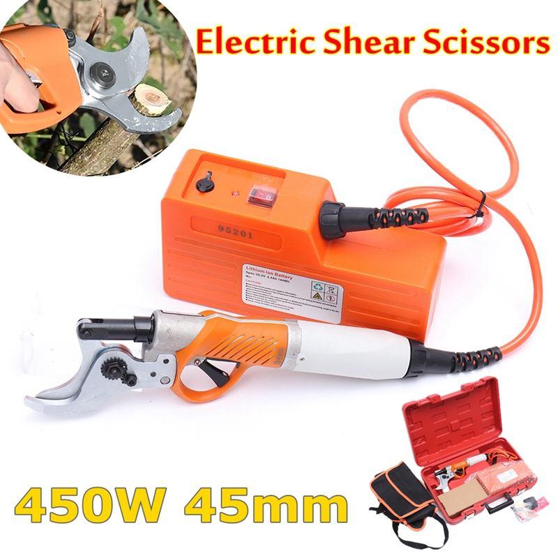 450 W 45mm Pruner Shears Elétrico para Tesoura de Jardim de Árvores Frutíferas 36 V 4400 mah Bateria Li- pomar Poda elétrica De Cisalhamento