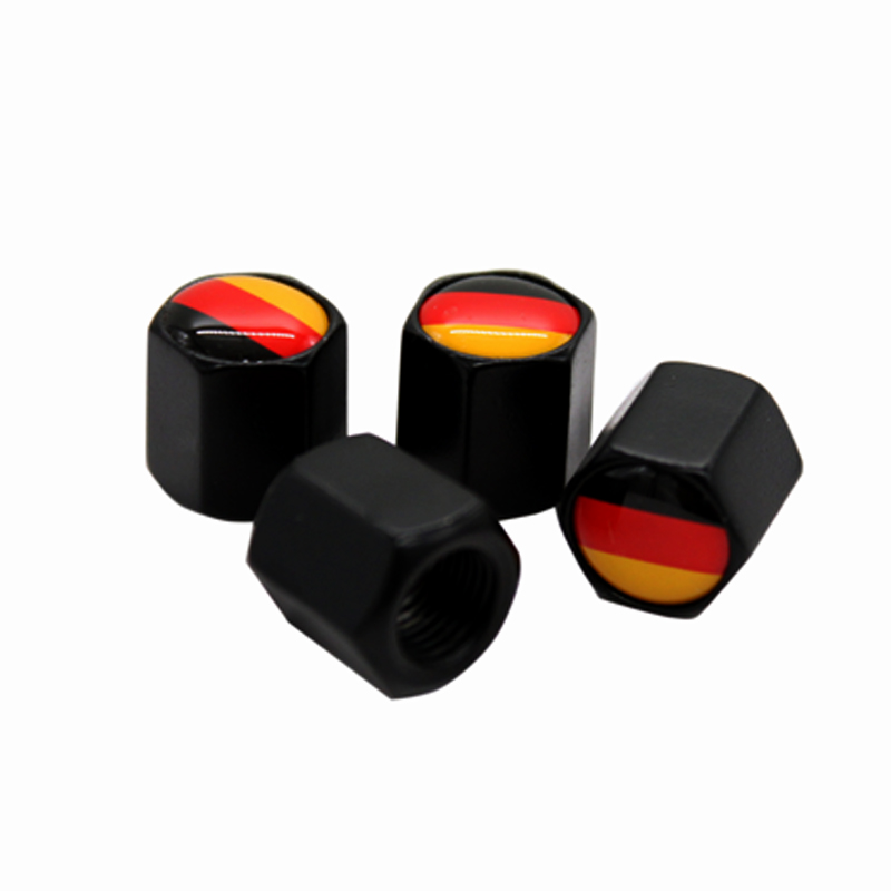 HAUSNN 4Pcs/Pack Tire Stem <font><b>Caps</b></font> Tyre Accessories <font><b>Valve</b></font> <font><b>Caps</b></font> Car Styling Germany Flag Logo For VW <font><b>BMW</b></font> Benz MINI image