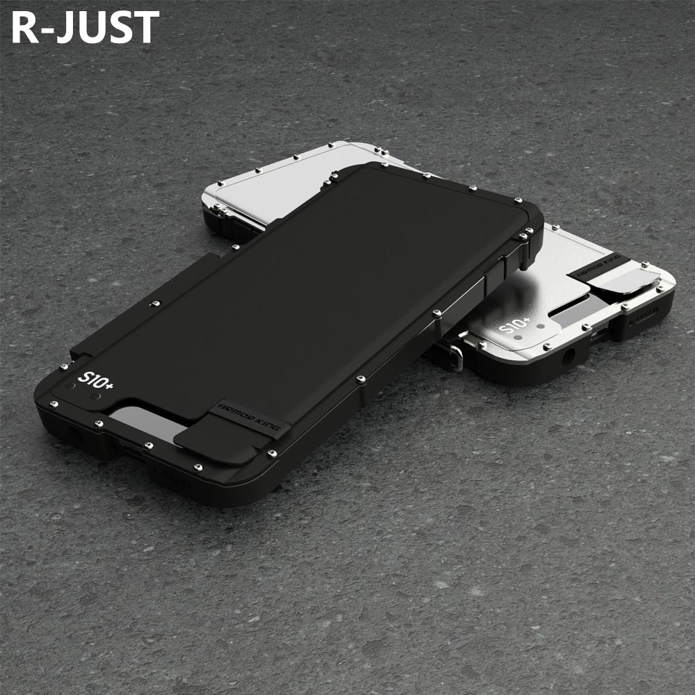 R-JUST pour Samsung S10 housse de luxe rigide PC métal acier hybride armure de protection Flip coque de téléphone pour S10 Plus couverture arrière