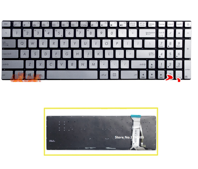 SSEA New Silver US Keyboard without frame for ASUS N551 N551J N551JB N551JK N551JM N551JQ laptop keyboard With backlight laptop keyboard for acer silver without frame turkish tur v 121646ck2 tr aezqsa00110