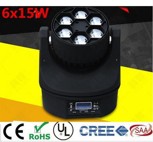LED Mini Abeille Oeil Led Moving Tête Lumière Effet de Faisceau 6x15 W dj RGBW 4IN1 LED Lampe 10/15CH