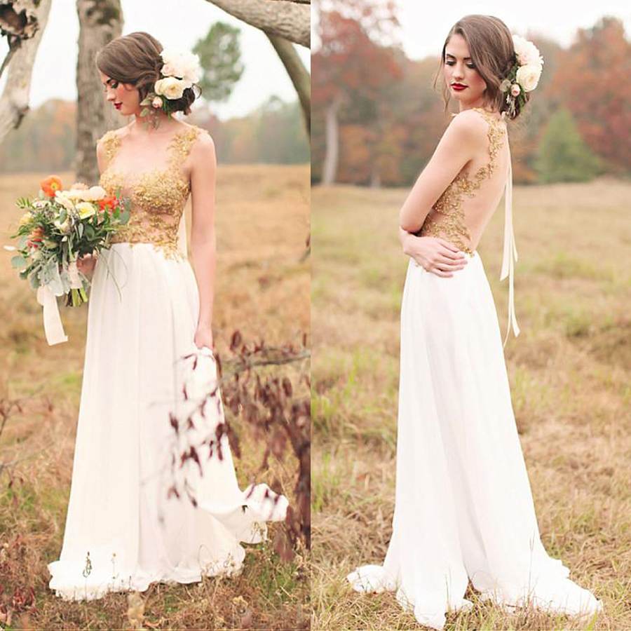 Delightful Chiffon Scoop Neckline A Line Wedding Dresses With Gold Beaded Lace Appliques Pregnant Bridal Dresses