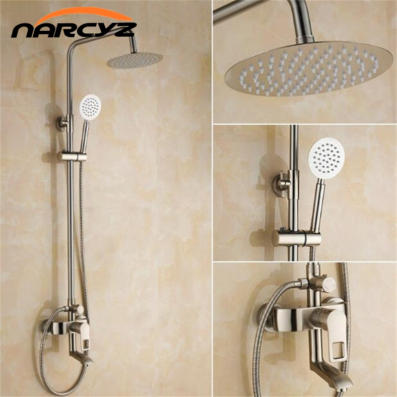 New Style Free Brushed Nickel shower sets shower Faucet With Brass Handshower And Hot and Cold