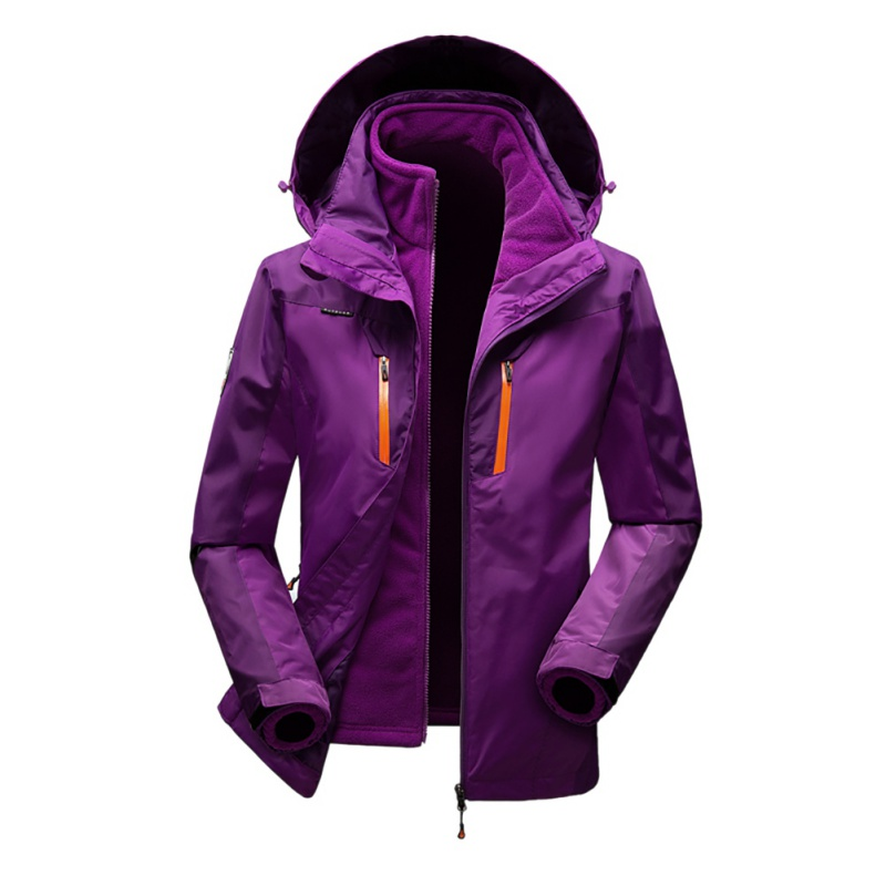 купить Men Women Windproof Climbing Hiking Skiing Jacket Winter 3 in 1 Outdoor Soft Shell Jacket Waterproof Coats Outdoor Hooded онлайн