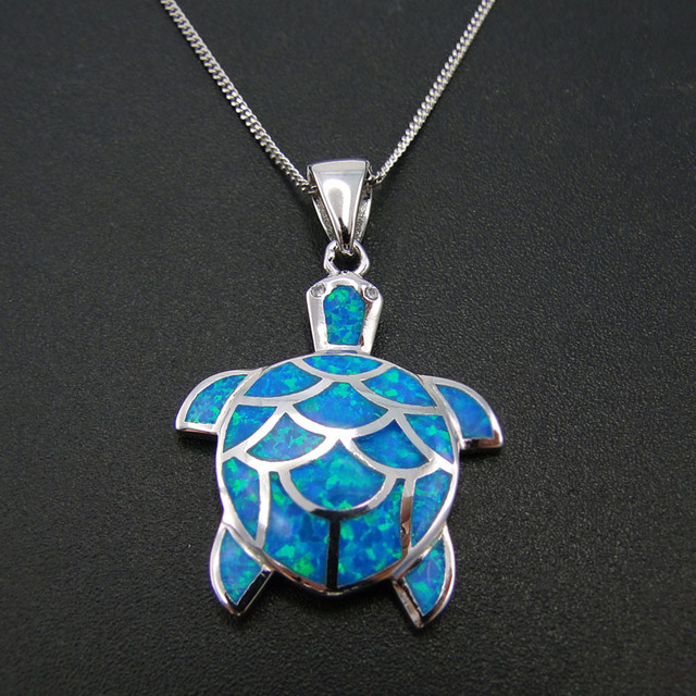 Wholesale Blue Opal  Sea turtle Pendant 100% Sterling Silver Fashion Jewelry DR2015030539P 5.5g Free Shipping