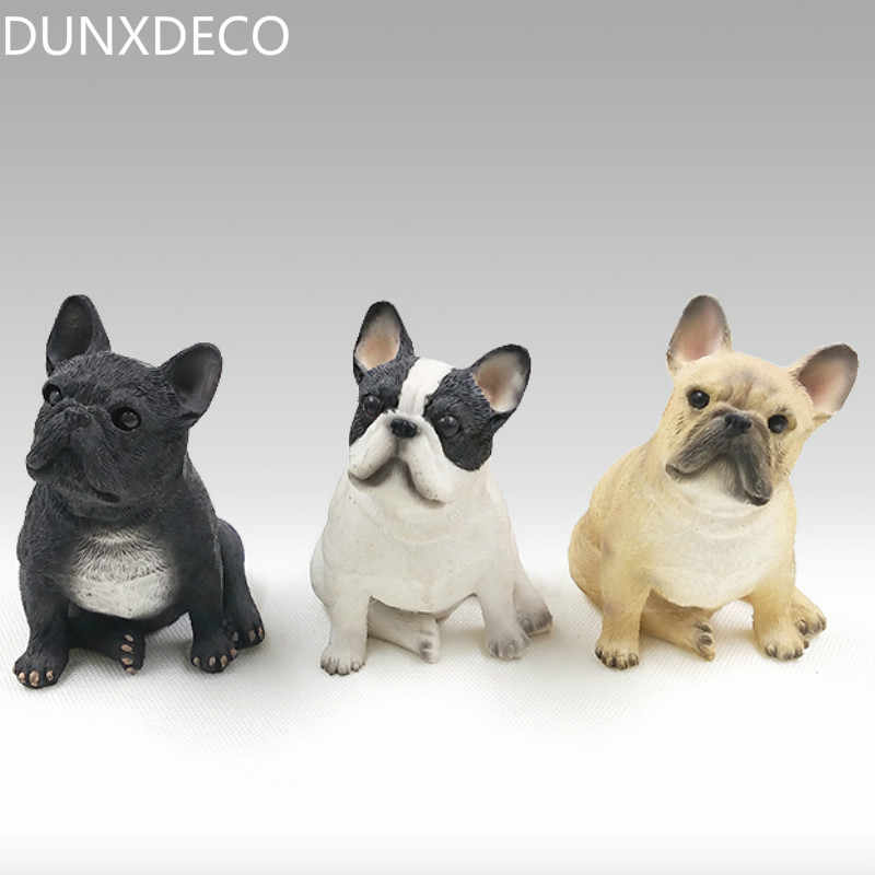 DUNXDECO Decoration Accessories Miniature 3PCS Miniature Rustic French Bull Dog Simulation Desktop Furnishing Figurine Gift