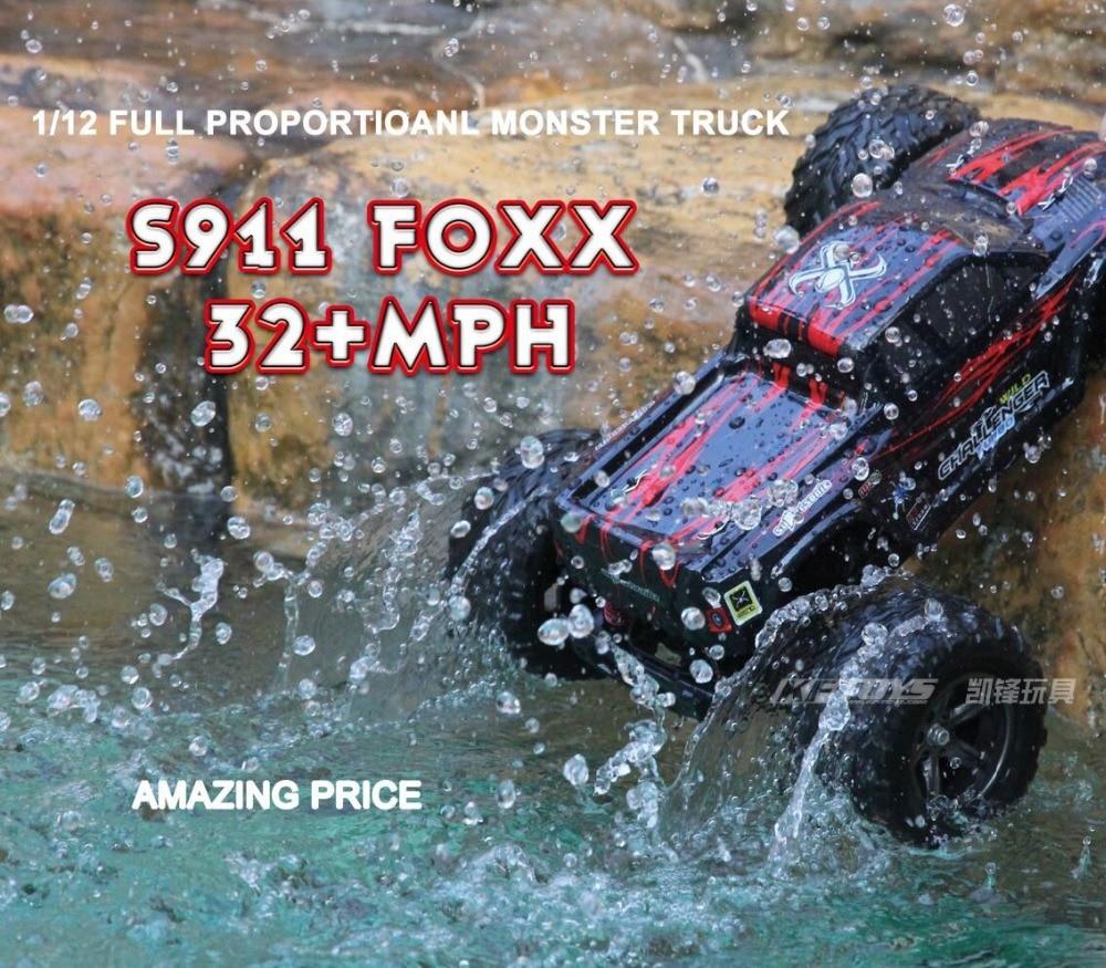 S911 foxx 2.4Ghz Off-road Big Wheels RC Monster Truck 40km/h Super Power Radio Control cars 1:12 bigfoot speed