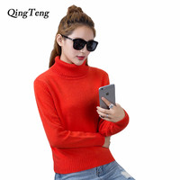 QingTeng Womens Winter Cashmere Sweaters Designer Knitwear Casual Turtleneck Pullover Clothing Long Sleeve Warm Jumper Tops