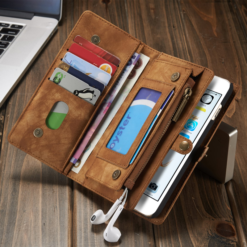 Second Layer Genuine Leather Case for iPhone X 8 7 6s plus 7 8Plus Multi Functional 2 in 1 Leather Stand Wallet Cover Phone Case