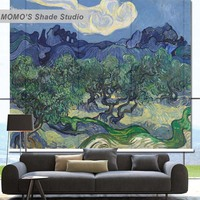MOMO Blackout Van Gogh Window Curtains Roller Shades Blinds Thermal Insulated Fabric Custom Size, Alice 565