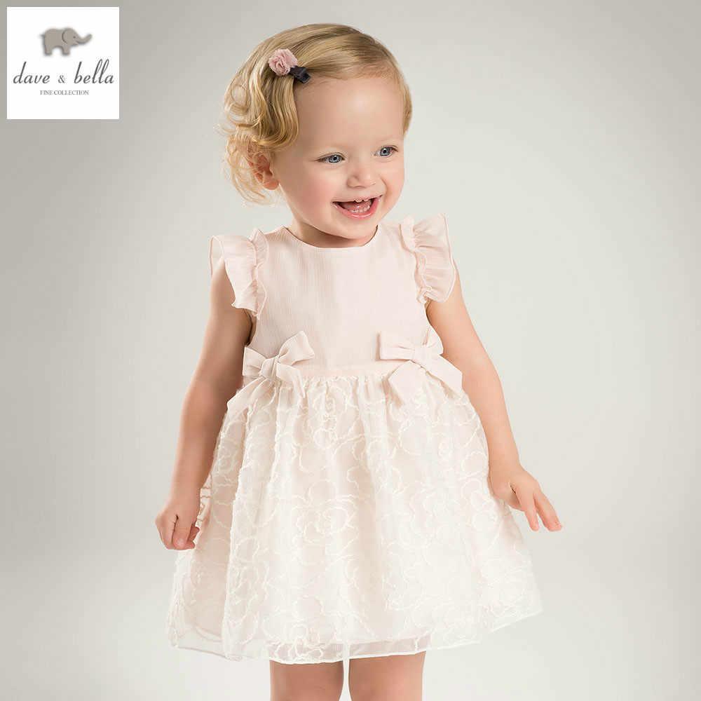 DB4953 dave bella/летнее платье принцессы для маленьких девочек детское свадебное платье из пряжи и тюля с большим бантом детская одежда для дня рождения, платье костюмы для девочек