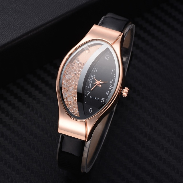 Women Fashion Luxury Watch Leather Strap Women Bracelet Clock Ellipse Rhinestone PU Sport Quartz Watch Wrist Watches For Women Accessories Female Watches Jewellery & Watches