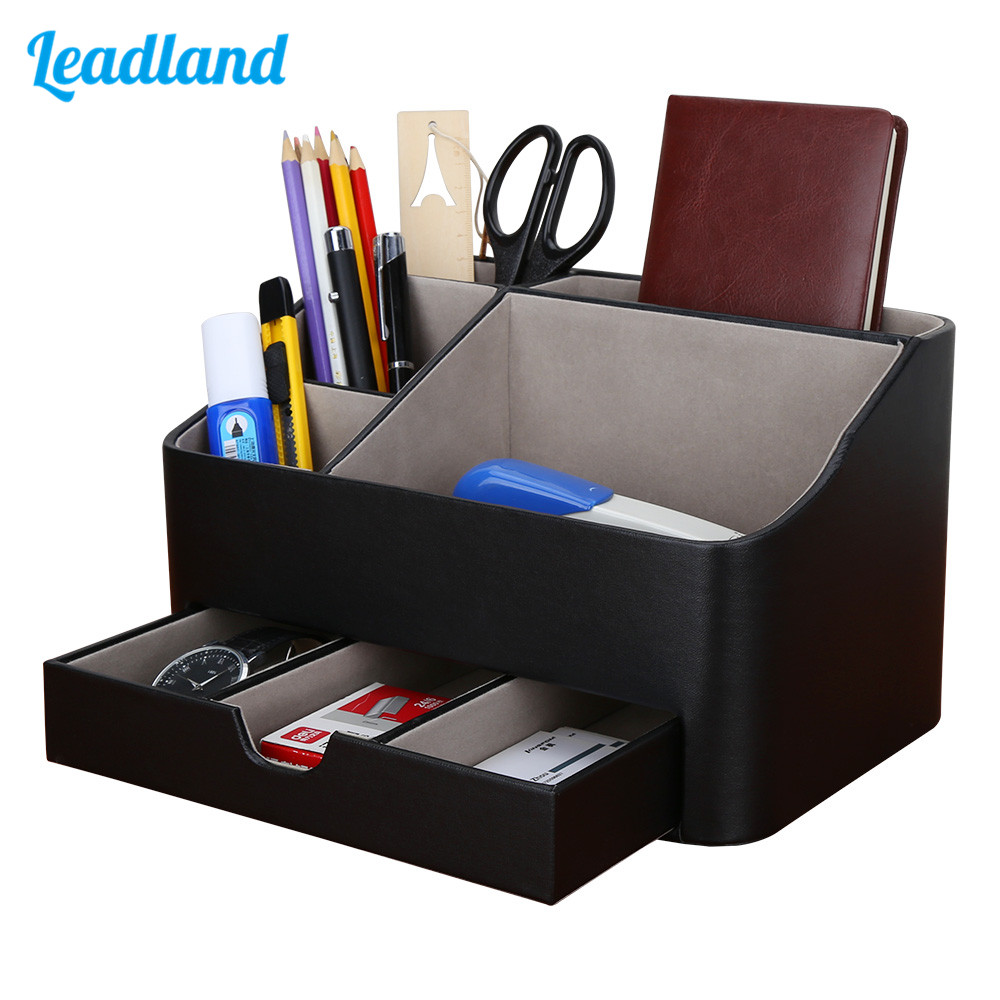 Office Supplies Multi-functional Stationery Storage Box Pen Holder Pencil Box Large Capacity Desk Organizer With Drawer New