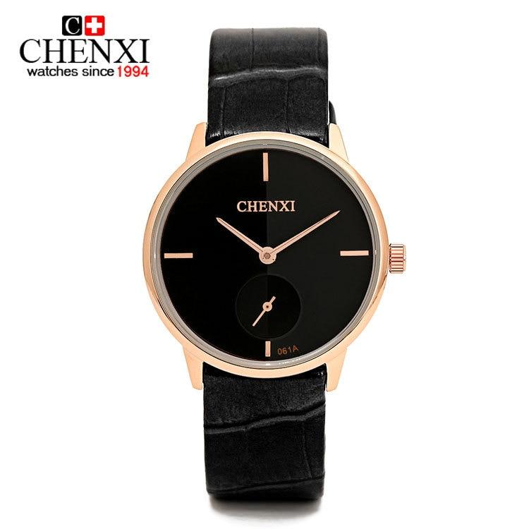 ec8e0460c Оригинальный CHENXI простой Стиль geuine кожа высокое качество Кварцевые  наручные часы для Для мужчин Для женщин черный, белый цвет 061a