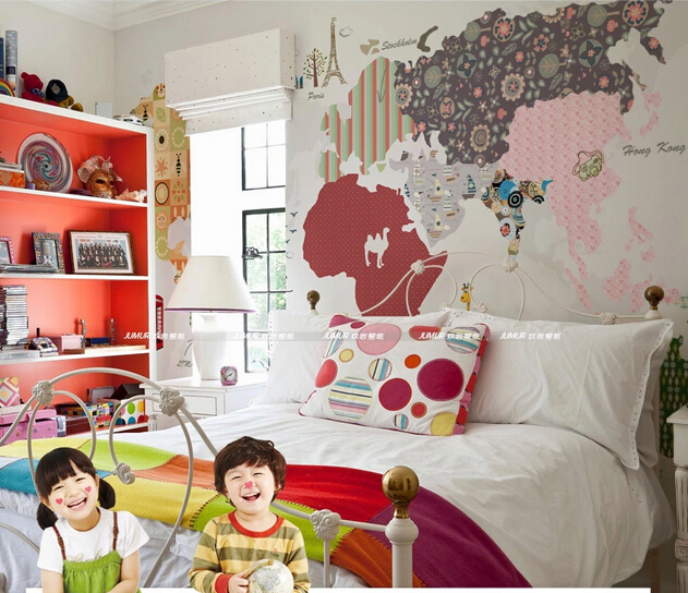 2015 customize large wallpaper map of the world for kids room 2015 customize large wallpaper map of the world for kids room cartoon personality wallpapers mural colorful gumiabroncs Image collections