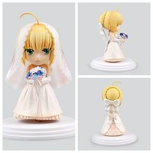 11cm Pretty Fate Stay Night Saber Action Figures Doll Toy 10th Anniversary Royal Dress Ver Saber Creative PVC Figure Anime Gift anime figure 22cm fate stay night ccc wedding dress ver saber bride pvc action figure collectible model toy gift