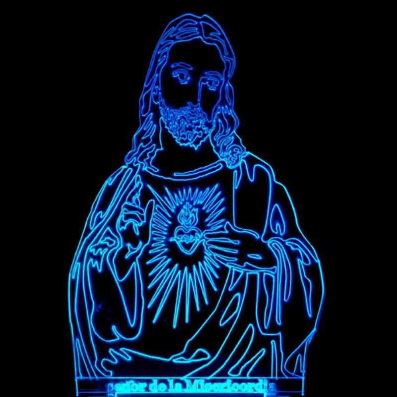3D визуальный Иисус Christianism Светодиодная лампа Multi-цветные акриловые свет творческий подарок домашнего интерьера 7 Изменение цвета