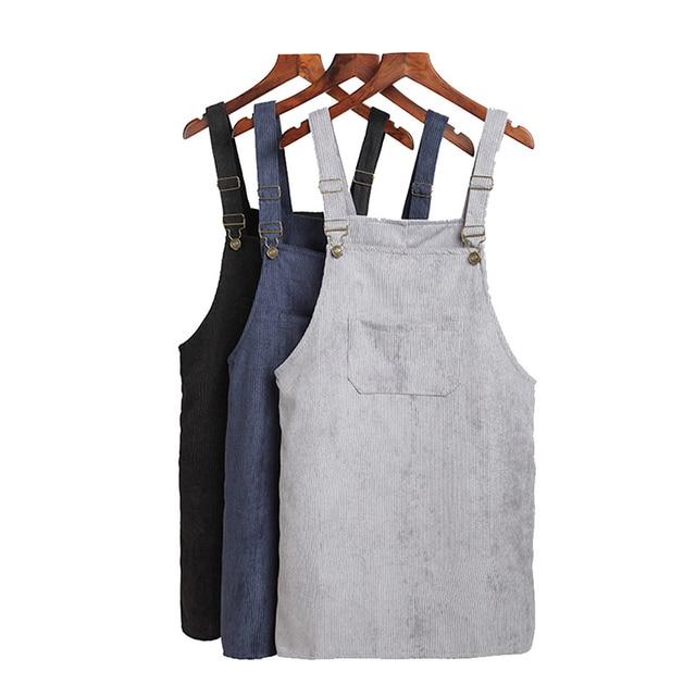ff72ce54ded Saslax 11 Colors Suspender Retro Corduroy Shift Dress 2018 Women Autumn  Spring Korean Sundress Vest Overall Casual Mini Dresses