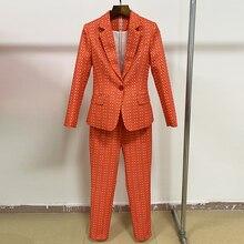 하이 스트리트 새로운 패션 2020 세련 된 Deesigner 활주로 양복 세트 여자의 빈티지 격자 무늬 꽃 인쇄 블레 이저 바지 정장